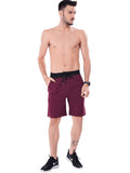 Buy Maroon Bermuda With Broad Waist Band For Men Online In India