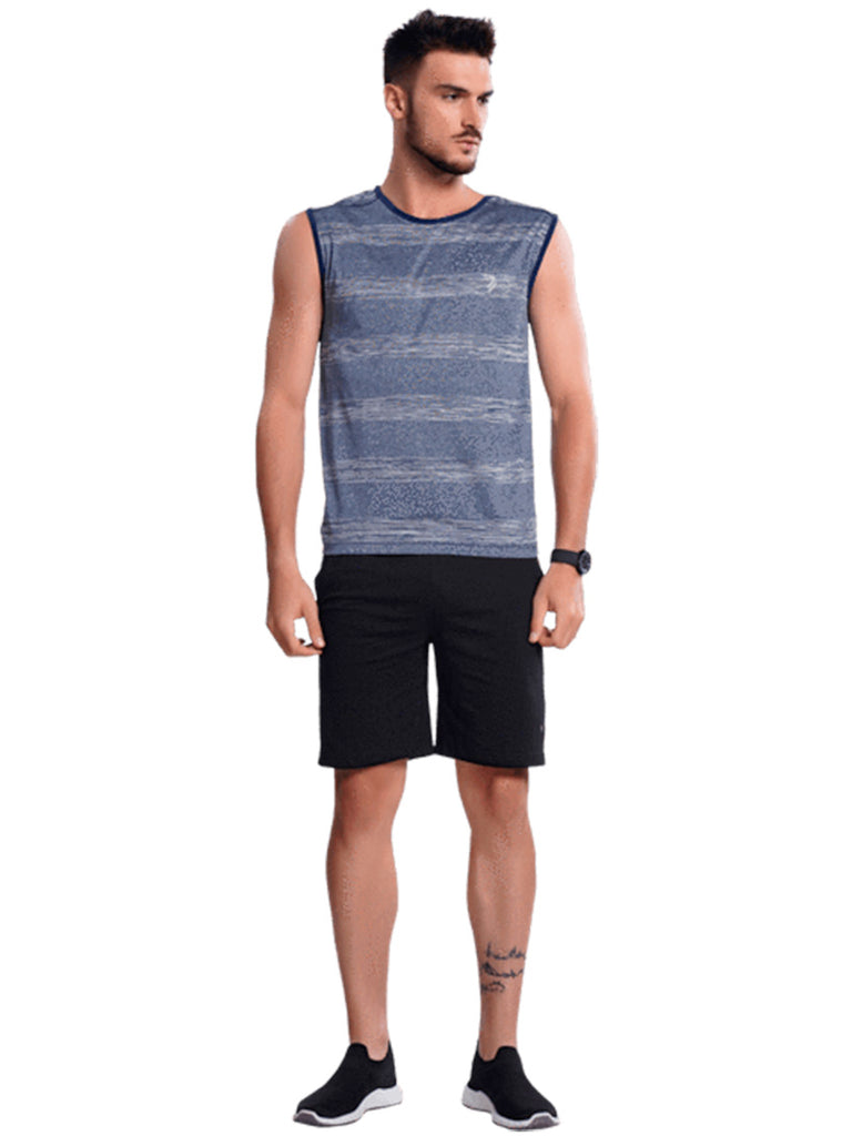 Sleeveless Athletic Jersey T-Shirt For Men- Grey