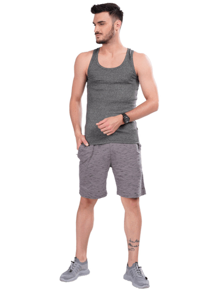 Buy Dark Grey Solid Gym Vest For Men Online In India