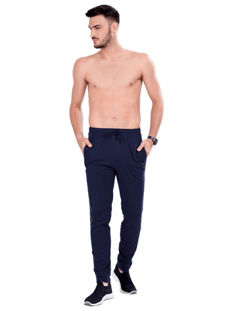 Buy Navy Track pants With Side Panel For Men Online