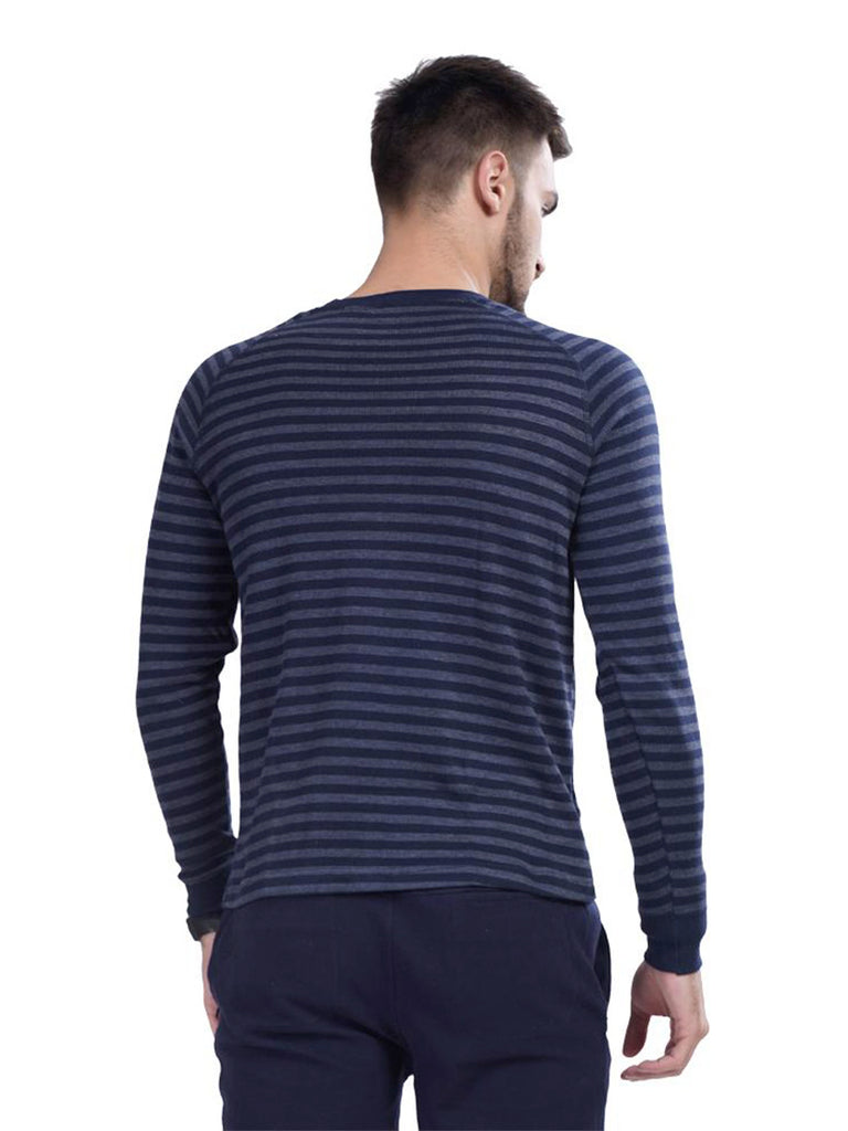 Buy Blue Stripped Pullover T shirt For Men Online In India