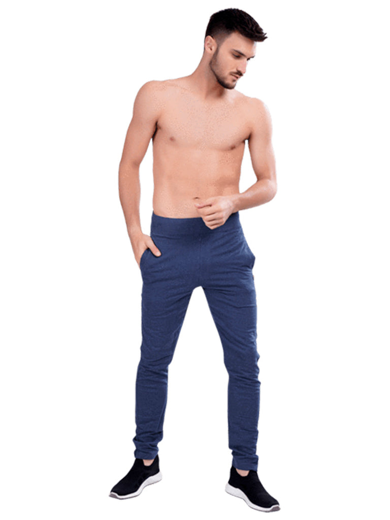 Buy navy Track Pants with Terry Knit fabric For Men Online