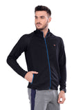Jacket with Dual Zipper Pocket- Navy