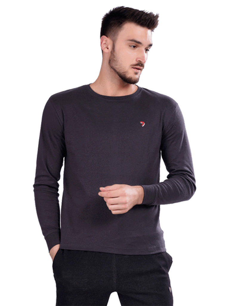 Round Neck Full Sleeve T-Shirts- Black