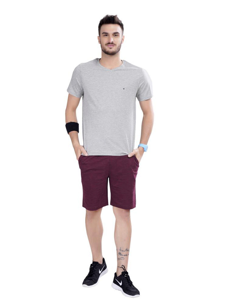 Buy Grey Solid V Neck T shirts For Men Online