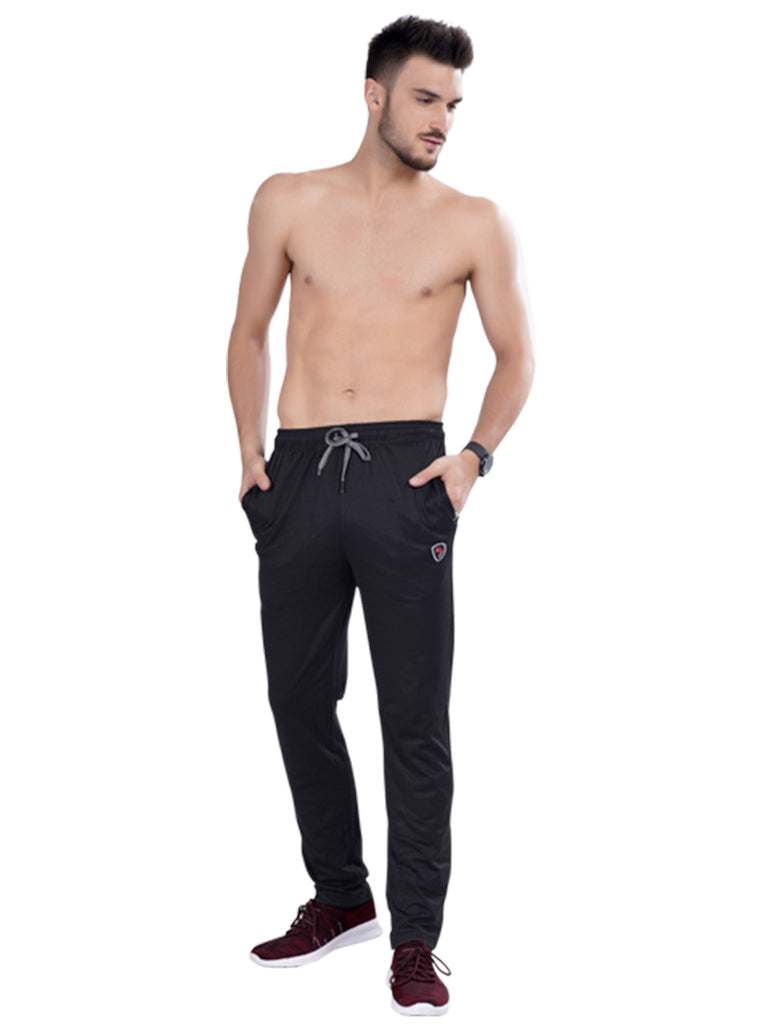 Buy Dark Grey Track pants With Dual Colour Drawstring For Men Online
