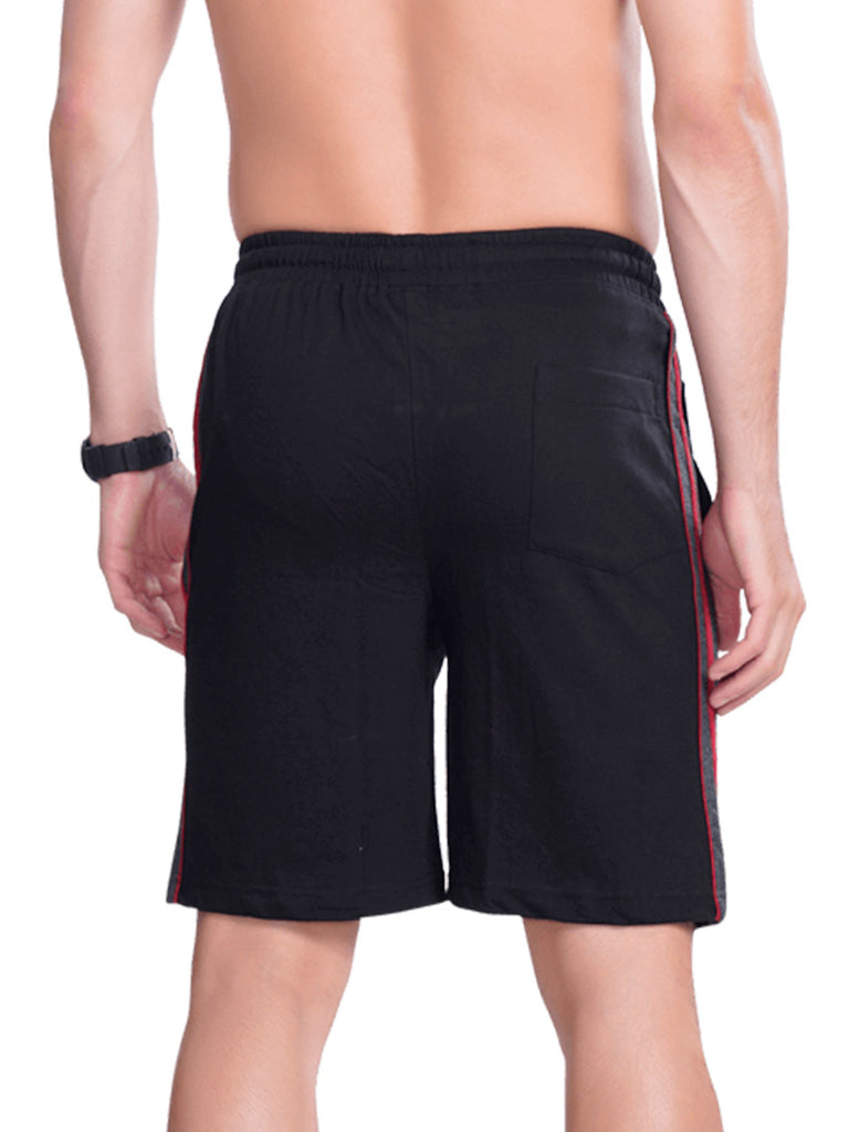 Buy Stylish Black Men Shorts With Contrast lines For Men Online In India