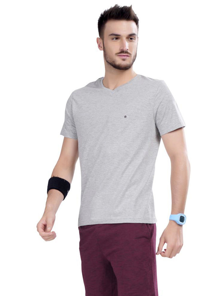 Solid V-Neck T-Shirts- Slate Gray