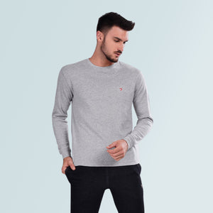 Round Neck Full Sleeve T-Shirts- Light Grey
