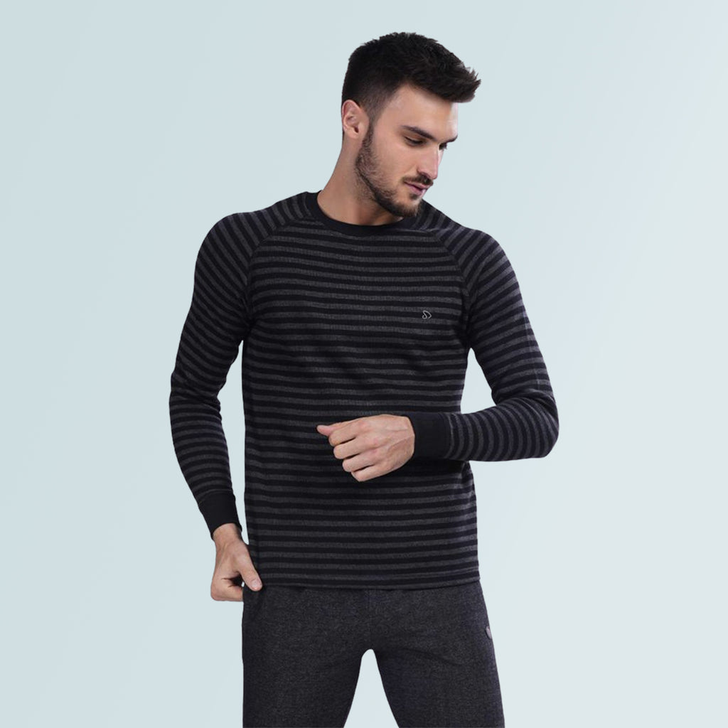 Stripped Pullover T-Shirt For Men- Grey