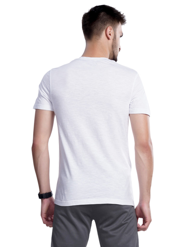 Buy White Solid Henley Neck T shirt For Men Online In India