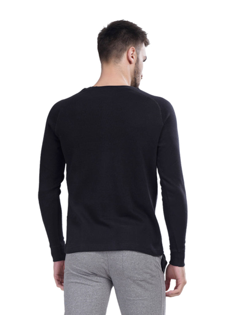 Stripped Pullover T-shirt For Men- Black
