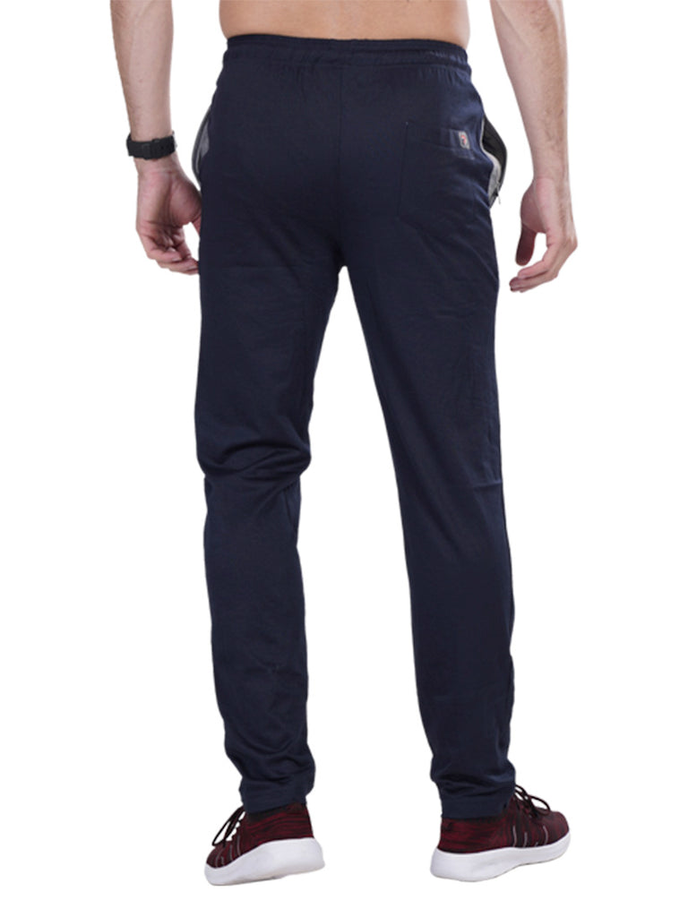 Buy Navy Track pants With dual colour drawstring For Men Online
