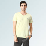 Solid V Neck T-Shirts- Lemon Melange