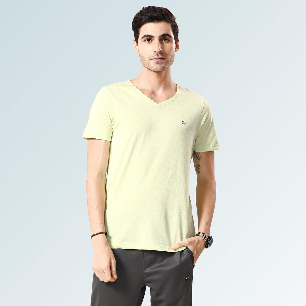 Solid V Neck T-Shirts- Lemon Melange - Sporto