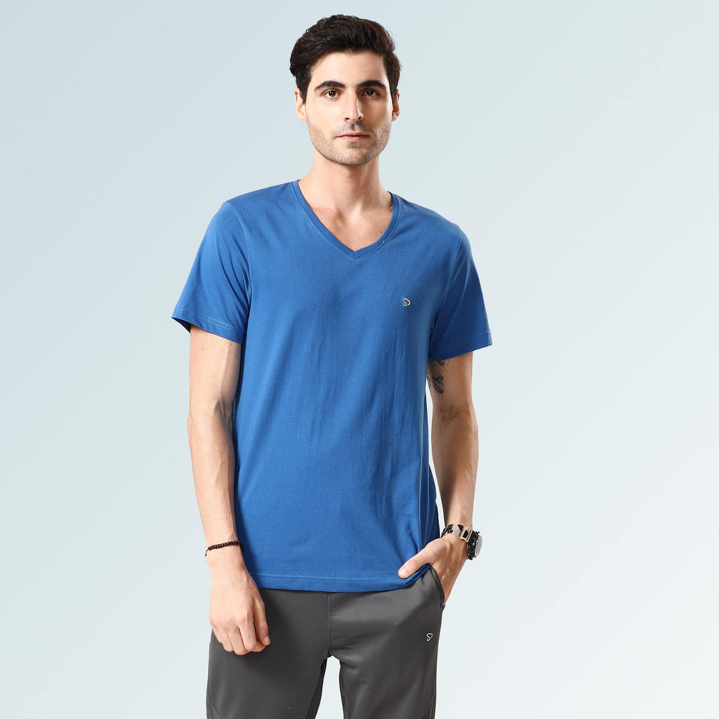 Solid V Neck T-Shirts- Jade Blue