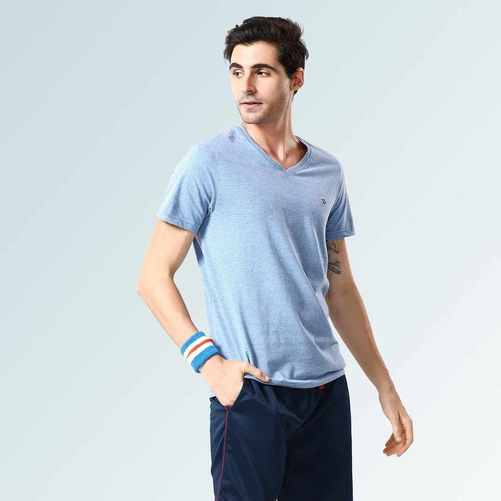 Solid V Neck T-Shirts- Jade Blue - Sporto