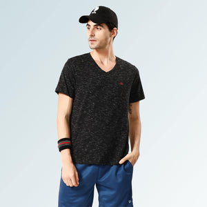 Solid V Neck T-Shirts- Black Flakes