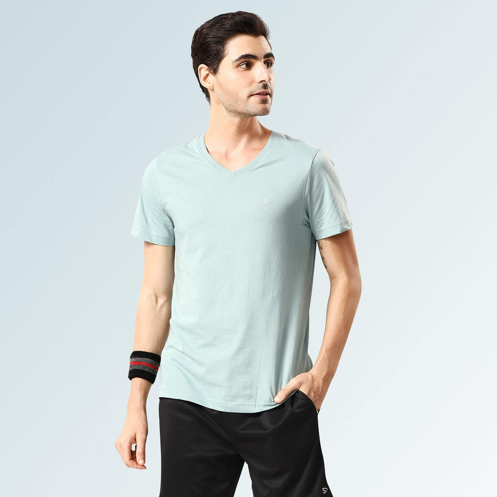 Solid V Neck T-Shirts- Powder Blue