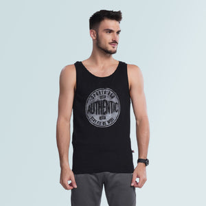 Gym Vest With Prints - Black