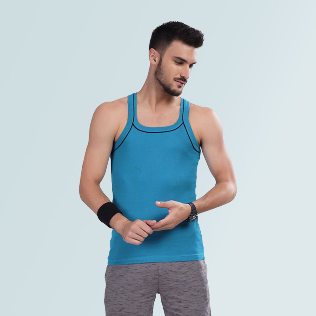 Men Gym Vest - Light Blue