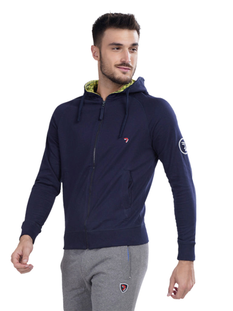 Hoodie Jacket With Wrist Cuff- Navy