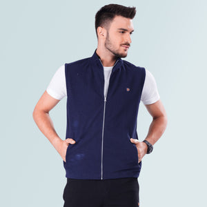 Sleeveless Jacket- Navy