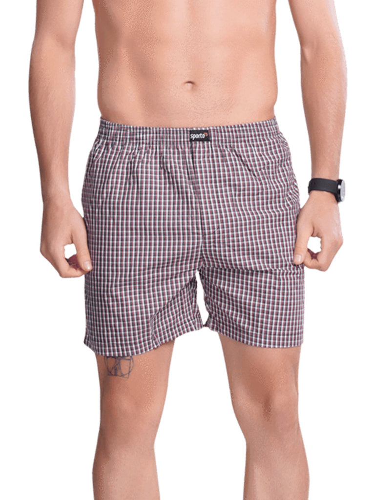 Checks Boxer For Men- Grey