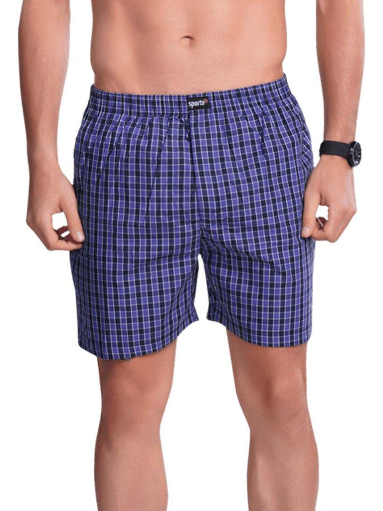 Checks Boxer For Men- Green - Sporto