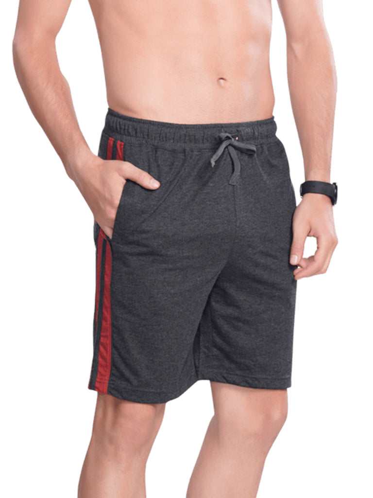 Men Shorts with Contrast lines- Black