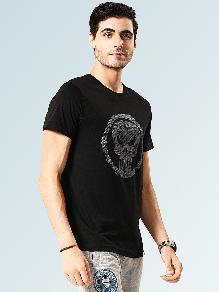 Punisher Round Neck T-Shirt - Black