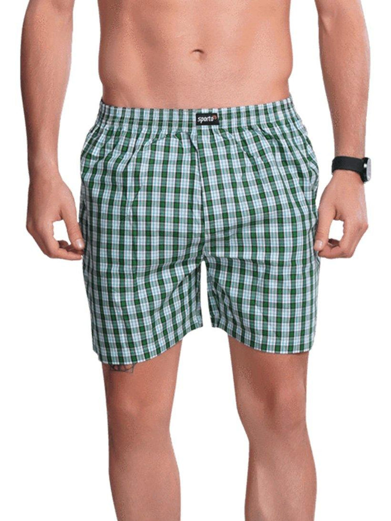 Checks Boxer For Men- Grey - Sporto