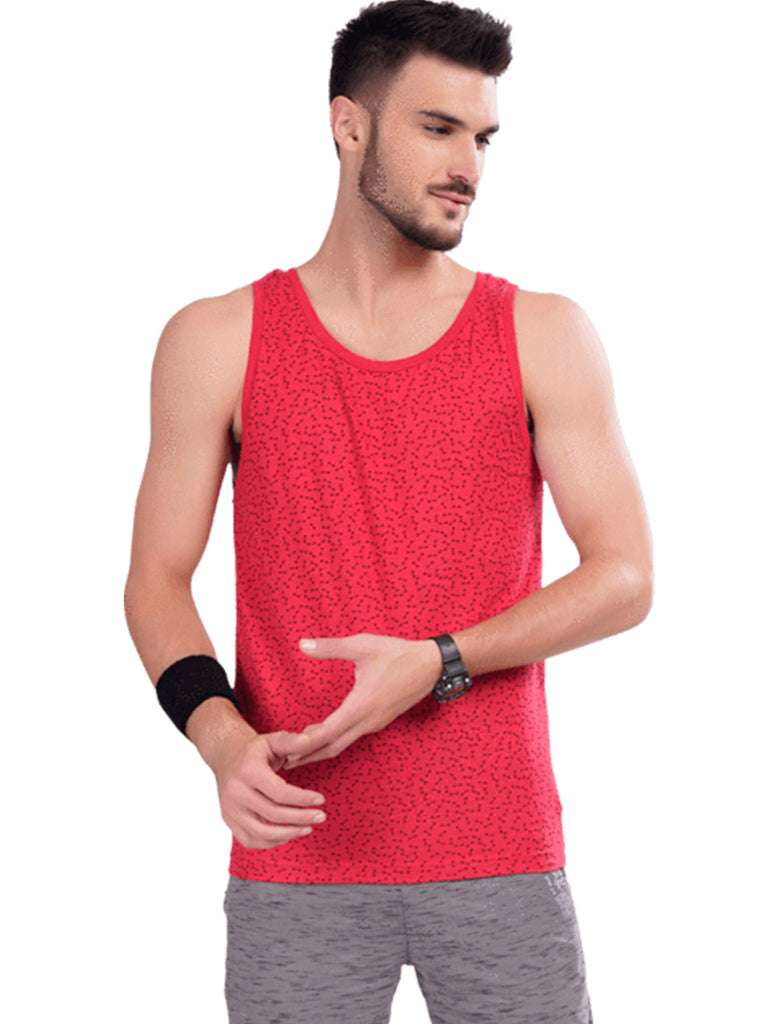 Printed Gym Vest For Men - Blue