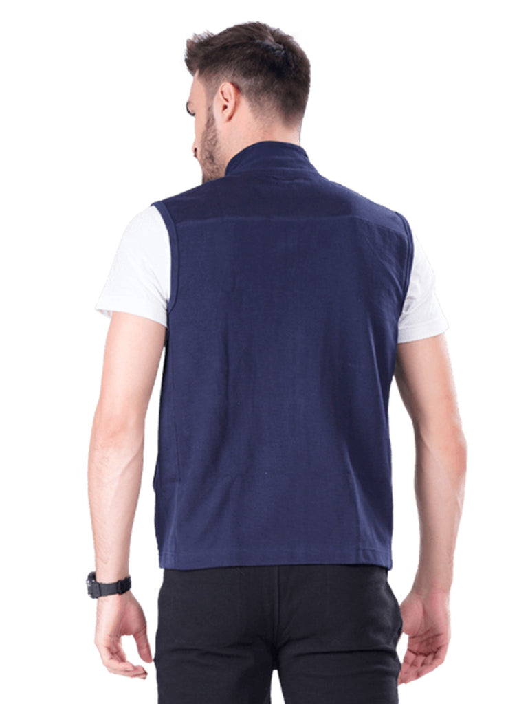 Buy Navy Sleeveless Jacket For Men Online In India
