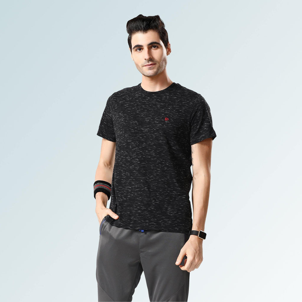 Solid Round Neck T-Shirts- Black Flakes