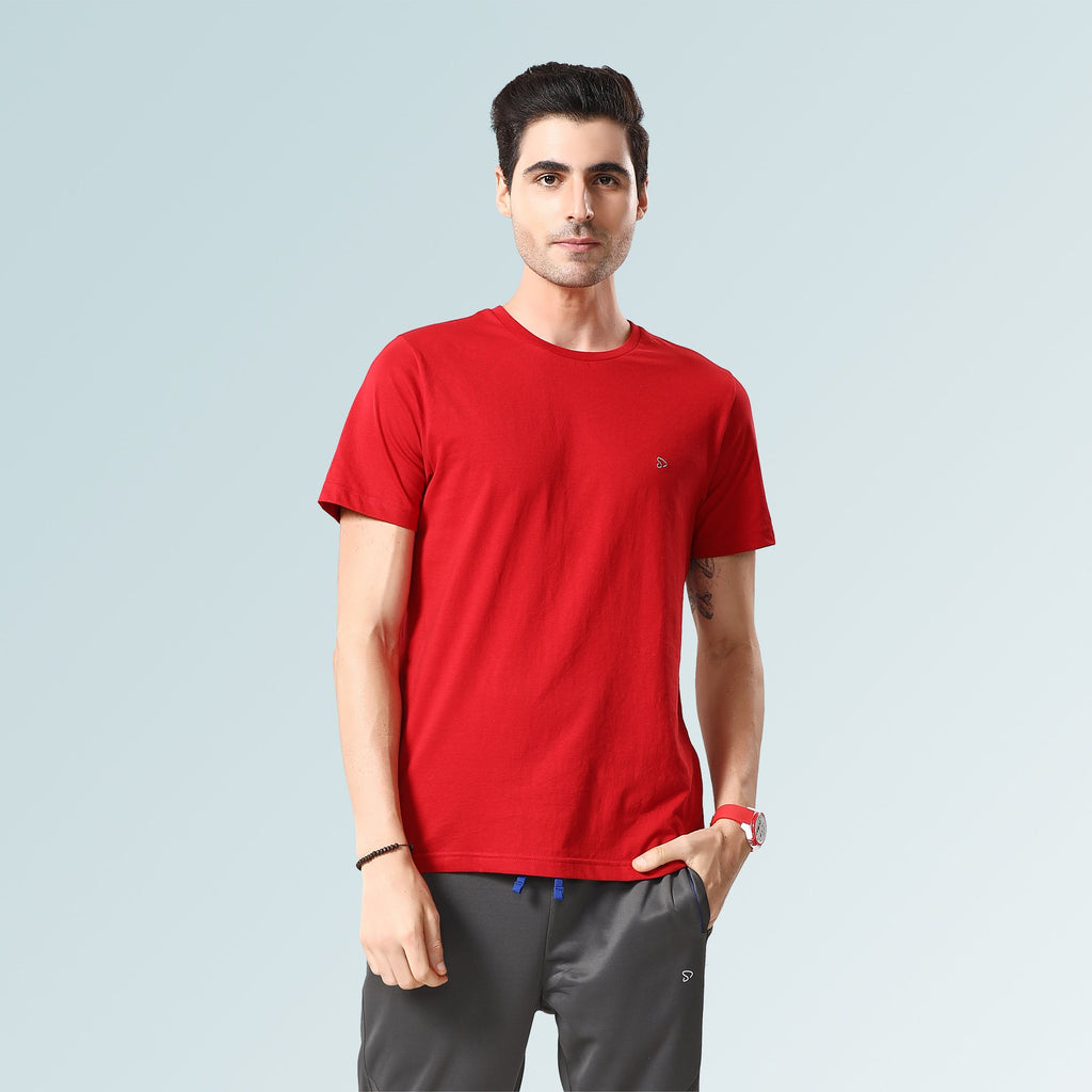 Solid Round Neck T-Shirts- Red