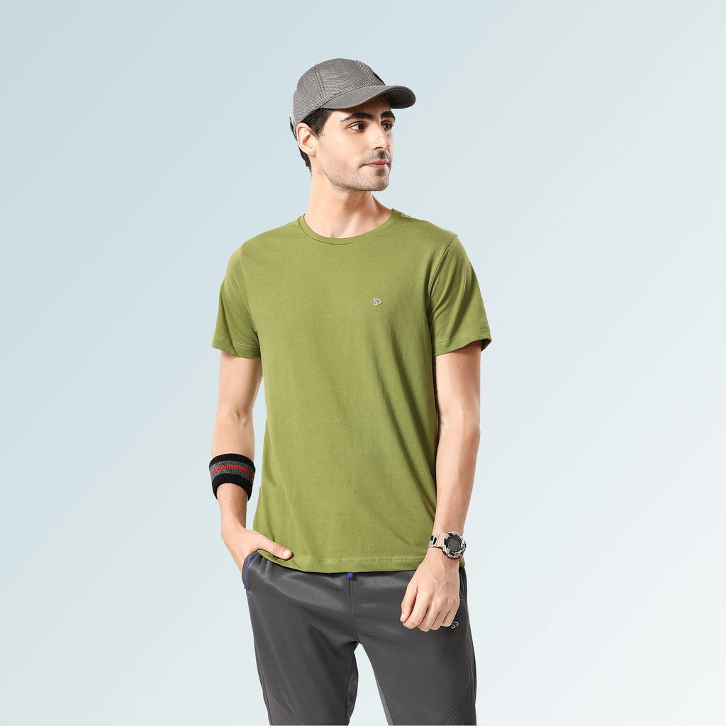 Solid Round Neck T-Shirts- Beige