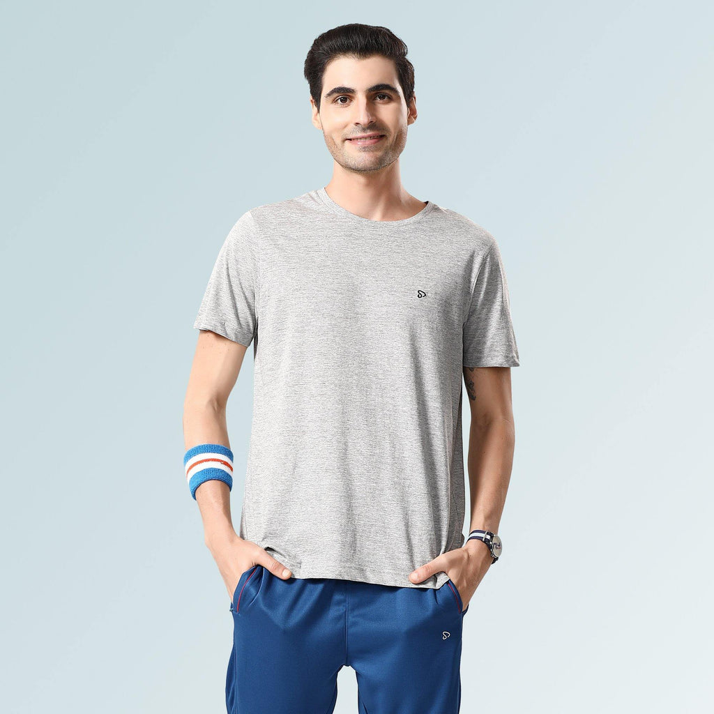 Solid Round Neck T-Shirts- Grey Melange