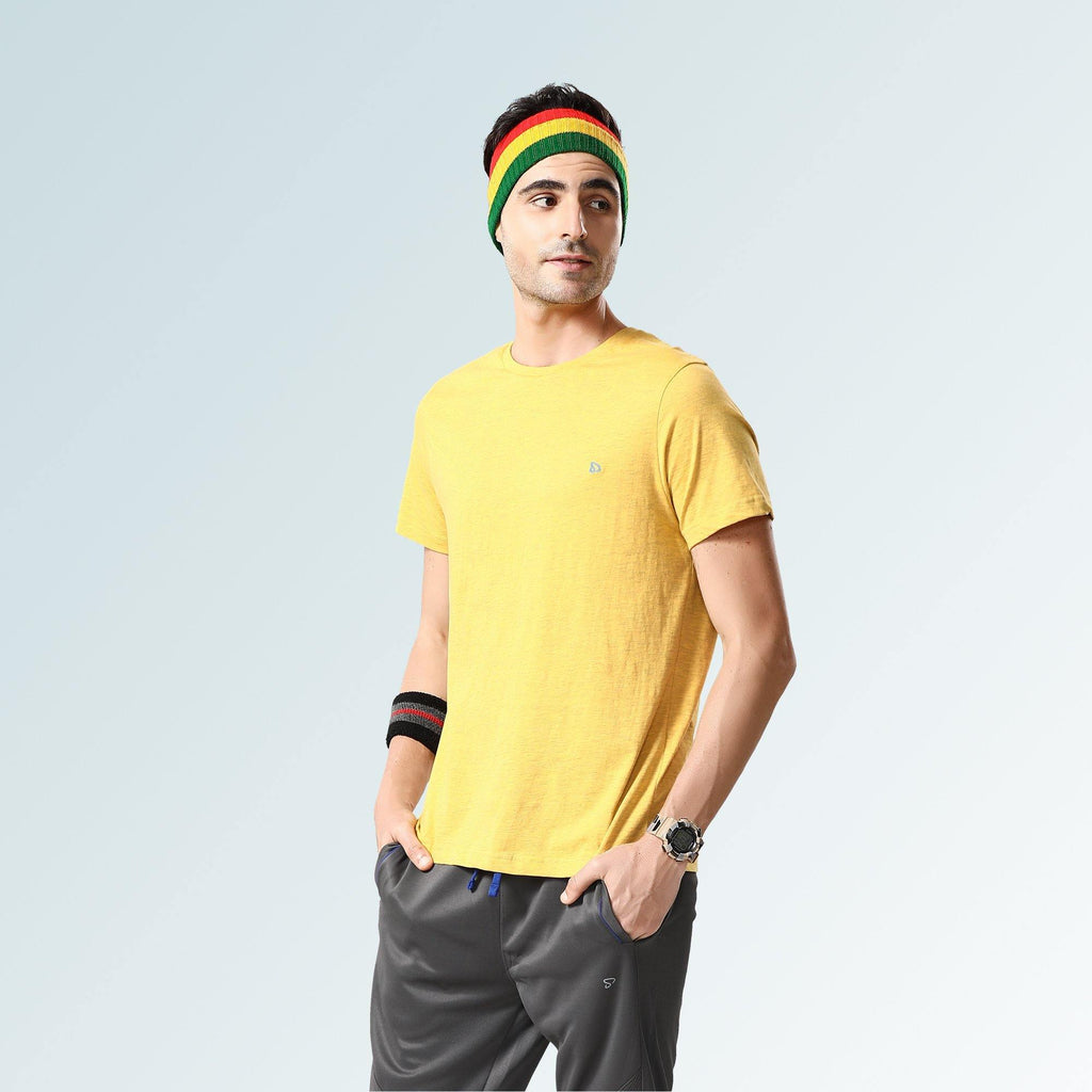 Solid Round Neck T-Shirts- Golden Rod - Sporto