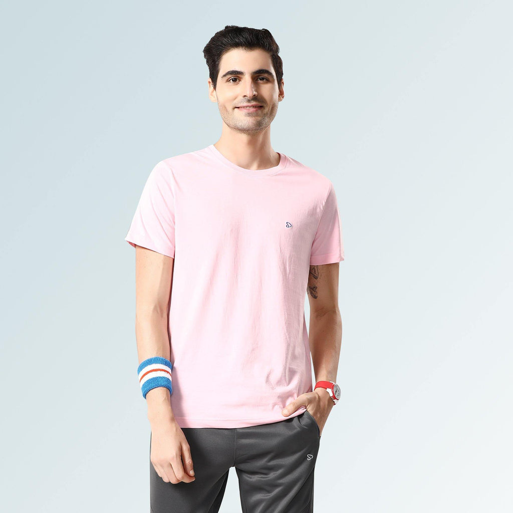 Solid Round Neck T-Shirts- Pink