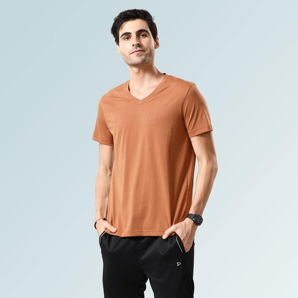 Solid V Neck T-Shirts- Brown Sugar - Sporto