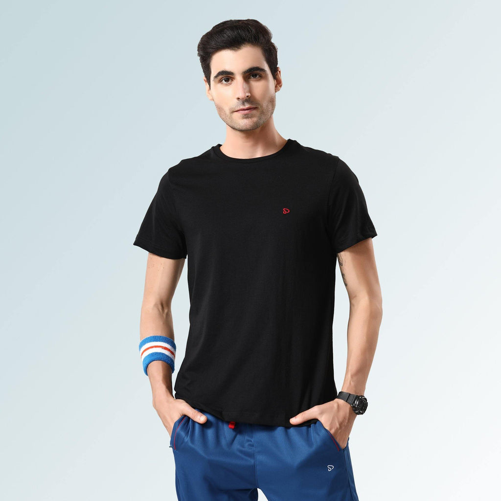 Solid Round Neck T-Shirts- Black Jaspe - Sporto