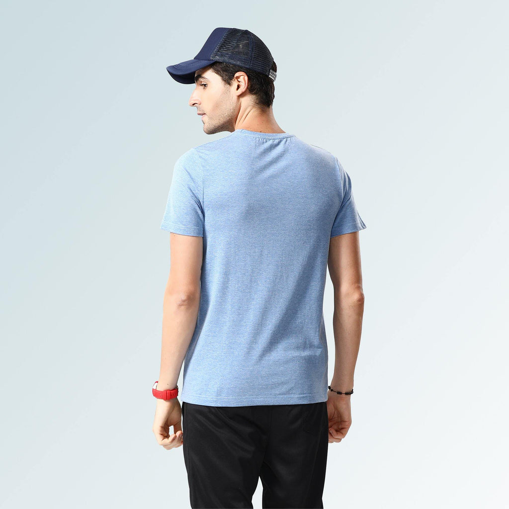 Solid Round Neck T-Shirts- Blue Jaspe