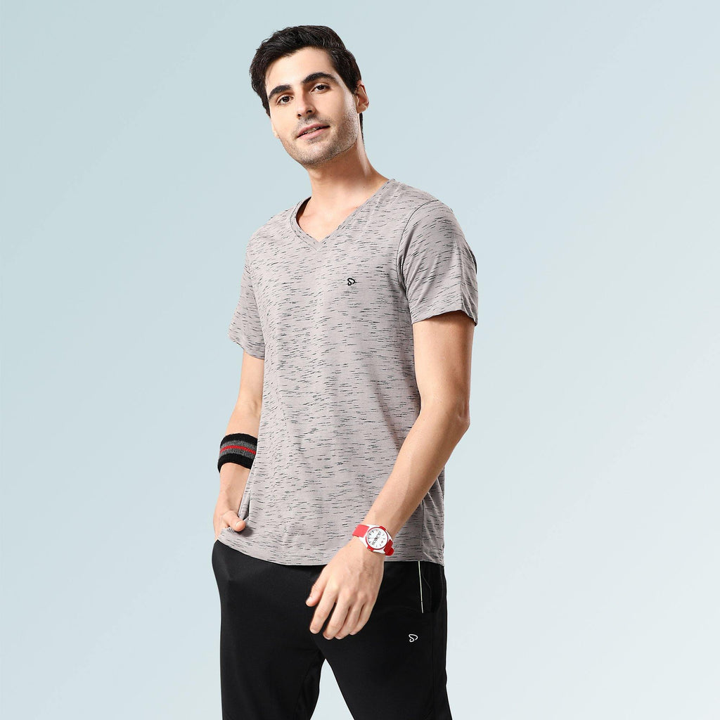 Solid V Neck T-Shirts- Grey Flakes