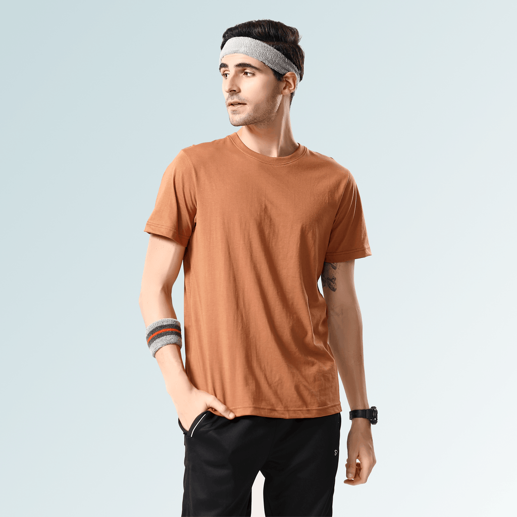Solid Round Neck T-Shirts- Apricot