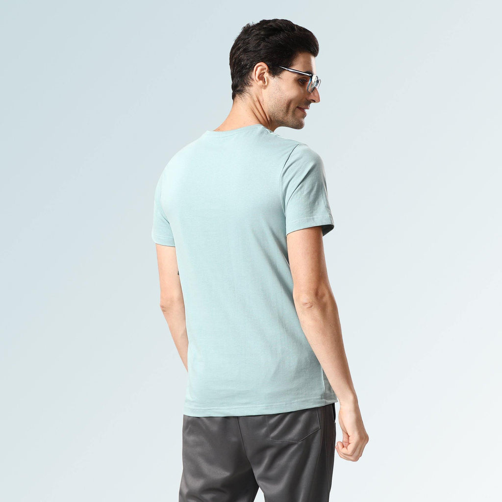 Solid Round Neck T-Shirts- Light Blue Jaspe - Sporto