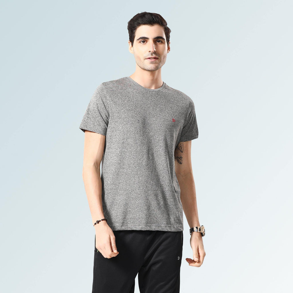 Solid Round Neck T-Shirts- Black Jaspe