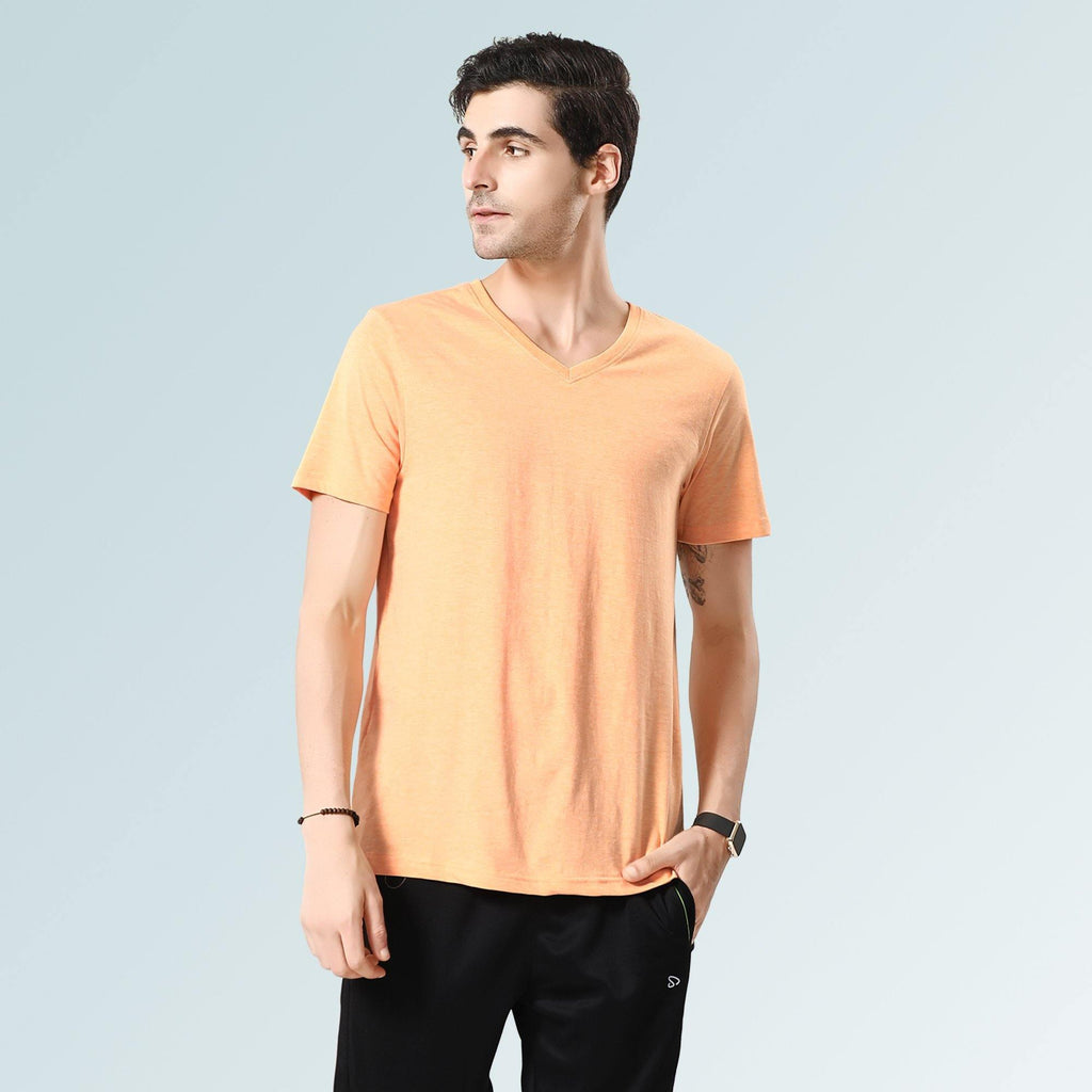 Solid V Neck T-Shirts- Peach Melange
