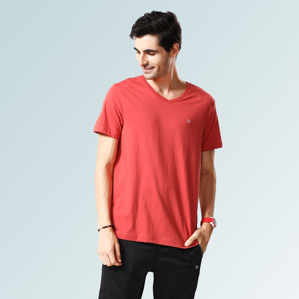 Solid V Neck T-Shirts- Baked Apple