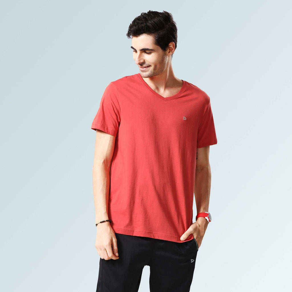 Solid V Neck T-Shirts- Baked Apple - Sporto